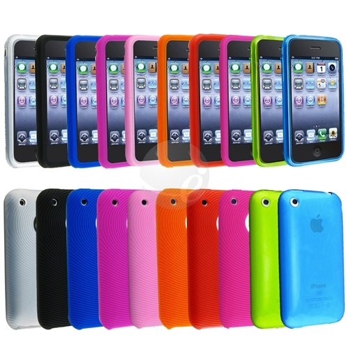 8 x Textured Silicone Skin Case Cover + 2 x TPU rubber Case Compatible With iPhone 3G S 3GS (10 Packs case combo)