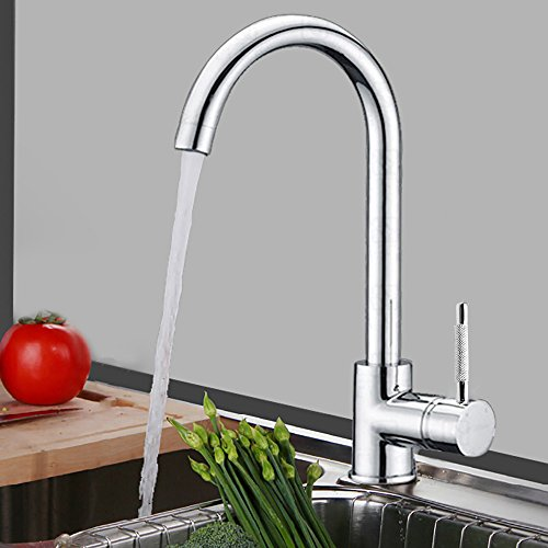IMEEA®  Exquisite Copper Single Handle Kitchen Sink Faucet Waterfall Faucet Two Swivel Spouts + Cold & Hot Water Tap Faucet + Cold / Hot Water Hoses (Chrome)