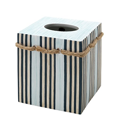 Zenna home india ink seaside serenity tissue box cover for Bathroom accessories set india