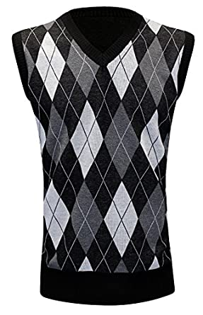 Men's Vintage Workwear – 1920s, 1930s, 1940s, 1950s Enimay Mens Argyle V-Neck Golf Sweater Vest (Many Colors Available)  AT vintagedancer.com