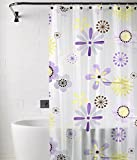 Tjar 3D PVC Floral shower curtain with 12 Hooks - Peach