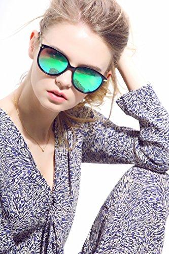 Diamond Candy Occhiali da Sole Donna,Sexy e Alla Moda ,Polarizzato,UV protezione,UV400 Nero-Verde