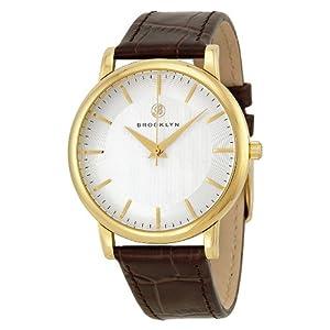 Brooklyn Watch Company Myrtle Silver Dial Brown Leather Swiss Quartz Mens Watch MY-YG-SV-BR