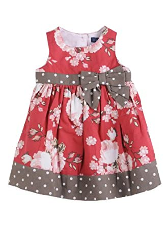 pumpkin patch baby s print dress with spot trim