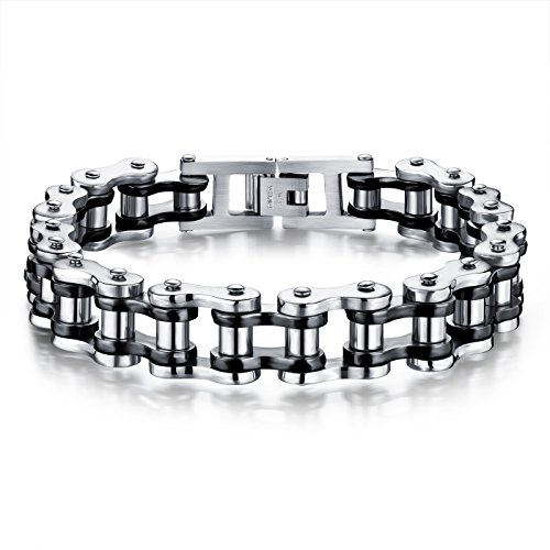 Cool Black Silver Stainless Steel Motorcycle Biker Chain Bracelet Rock Link Wristband Necklace,8.4 Inch