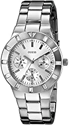 GUESS Women's U10075L1 Feminine Hi-Shine Mid-Size Silver-Tone Sport Watch