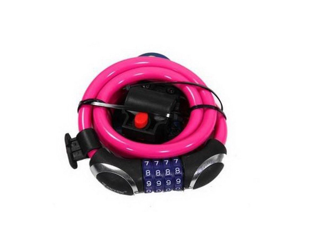 Cable Bike Lock 1.2 Meters Long Pink Combination Bicycle Lock with Bracket ulac folding bicycle lock mini portable foldable bike lock professional anti theft alloy strong mtb mountain road bike lock