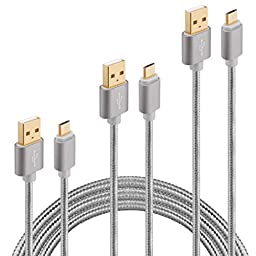 Galaxy S6 S7 Charger Cable, HI-Cable Speed+ 3Pack [10ft 6ft 3ft] USB2.0 A to Micro B Quick Fast Braided Long Charging Cord For Samsung Note 4 5 S4 S5 Active Tab A S S2 Pro PS3 4 Android Phone (Gray)