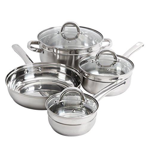 Oster 7 Piece Glynn Cookware Set, Stainless Steel