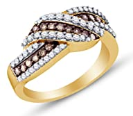 10K Yellow and White Two 2 Tone Gold Channel Set Round Brilliant Cut Chocolate Brown and White…