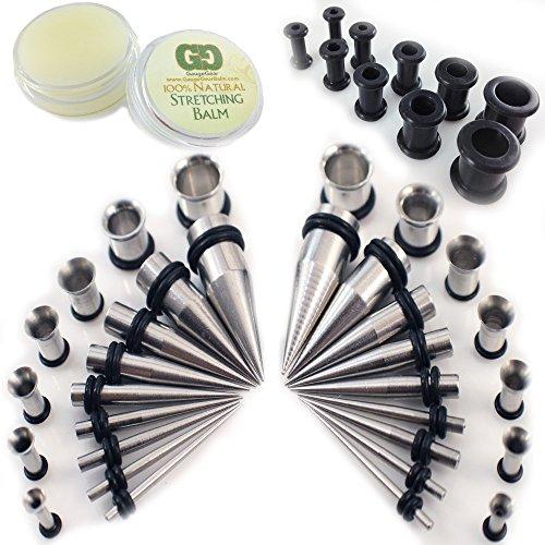 Gauge-Gear-Ultimatives-Starter-Kit-18-teilig-kegelfrmig-Stahl-316L-16-mm-10-mm-Edelstahl-Tunnelpiercing-Ohrlochdehner-Set-Acryl-mit-Balsam-und-schwarzen-Silikon-Ohrtunneln-4-mm-10-mm