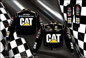 Jeff Burton Caterpillar Mens Black Nascar Twill Jacket by RacingGifts