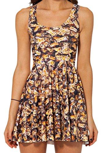 YueLian Women's Animal Print A-line Sleeveless Pleated Tank Dress Skater Dress (beer)