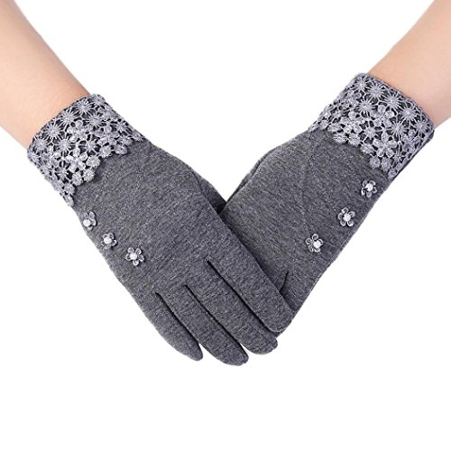 [Mosunx(TM) Womens Fashion Touch Screen Winter Outdoor Sport Warm Gloves (Gray)] (Lace Stretch Costumes)