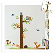 Large Tree Height Measurement Growth Chart with Quote Wall Sticker Decal for Kids Room Measures