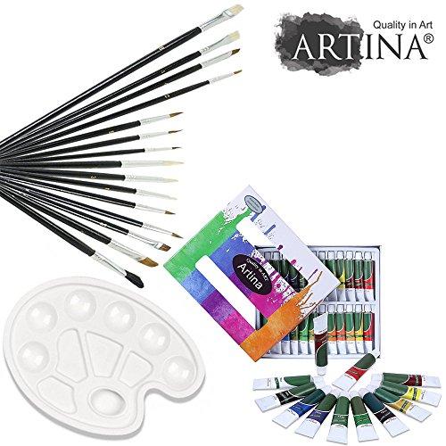 artina malset mit 24 acrylfarben inkl 15 teiligem pinselset und stabiler mischpalette. Black Bedroom Furniture Sets. Home Design Ideas