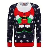 (クリスマスショップ) Christmas Shop メンズ 3D サンタクロース 長袖 ニットセーター クリスマスセーター 冬 (M) (ネイビー/レッド)