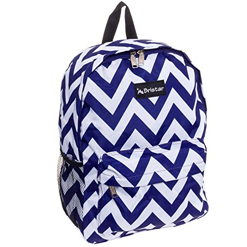 SilverHooks Women's Chevron Print Backpack Bag (Navy & White)