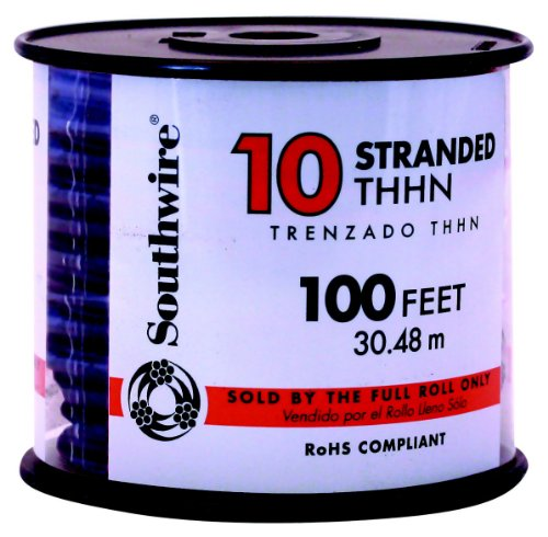Southwire 22973237 Simpull Thhn or Thwn-2 Standard Wire, 10 Gauge, 100' per Roll, Black (Thhn Wire 10 Gauge compare prices)