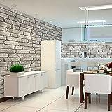 "HaokHome 130105 Vintage Faux Brick Textured Wallpaper Roll Light Gray/Black/White 3D Vinyl Home Kitchen Bathroom Decoration 20.8"" x 393.7"""