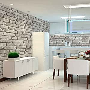 HaokHome 130105 Vintage Faux Brick Textured Wallpaper Roll Light Gray