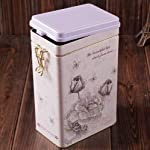Decorative Jar with Lid Retro Large White Rose Flower Coffee Tea Sealed Container Jar Tin Metal Kitchen Decoration Home Decor 21.5cm X 12cm