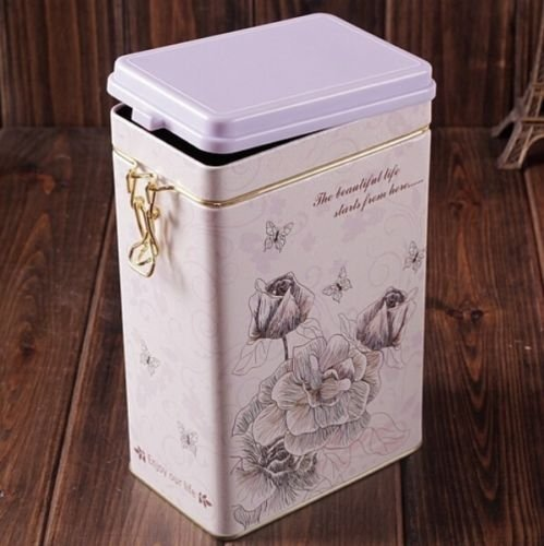 Decorative Jar with Lid Retro Large White Rose Flower Coffee Tea Sealed Container Jar Tin Metal Kitchen Decoration Home Decor 21.5cm X 12cm 0