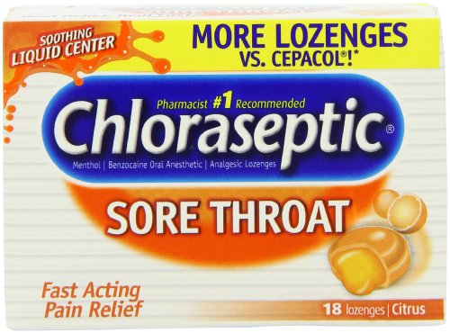 Chloraseptic Sore Throat Lozenges, with Soothing Liquid Center, Citrus, 18-Count Boxes (Pack of 6)