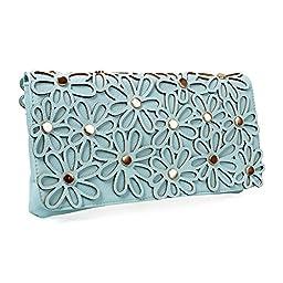 BMC Fashionable Mint Turquoise Faux Leather Daisy Style Cutout Design Statement Envelope Clutch Handbag