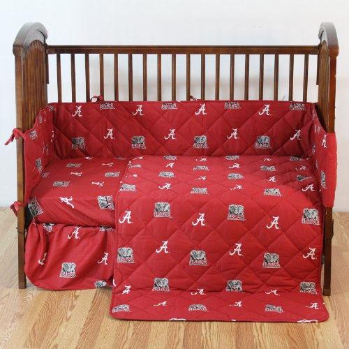 "NCAA Alabama Tide 5 Piece Crib Bedding Set, 52"" x 28"" x 6"", Crimson"
