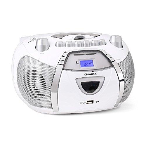Auna Beeboy Radioregistratore cassetta CD MP3 bianco