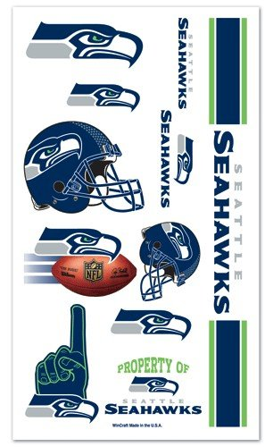 Seattle Seahawks NFL Temporary Tattoos (10 Tattoos) - 1