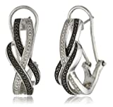 Sterling Silver Black and White Diamond Omega Back Earrings (.02 cttw)