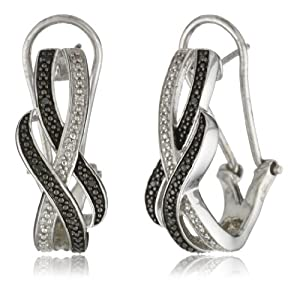 Sterling Silver Black Diamond Omega Back Earrings