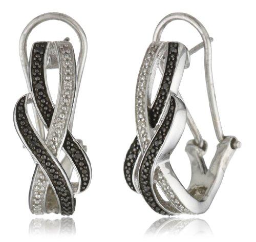 Sterling Silver Black Diamond Omega Back Earrings