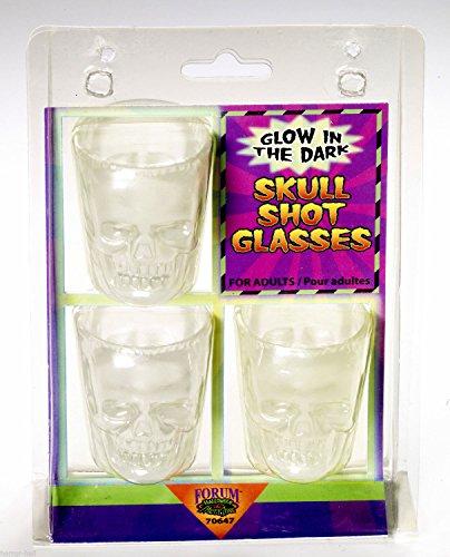 [Gothic Skeleton Head GLOW SKULL SHOT GLASSES Bar Drink Pirate Decoration-3pc SET] (Shot Doctor Costume)