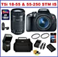 Canon Rebel T5i Digital SLR Camera with 18-55mm EF-S IS STM & EF-S 55-250mm F4-5.6 IS STM Lenses + 32GB SDHC Memory Card, Deluxe Camera Bag, Card Reader, Extra Battery, Travel Charger, 58mm UV Protection Filters, External Flash, Lens Cleaning Kit and Scre