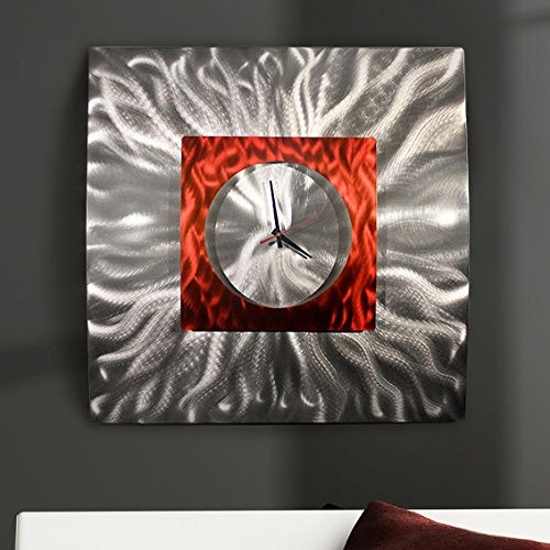 Eye-catching Etched Silver & Red Jewel Tone 3d Contemporary Wall Clock - Hand-crafted Modern Metal Wall Art, Functional Home Accent - Abstract Metal Timepiece - Fire Elemental Clock By Jon Allen