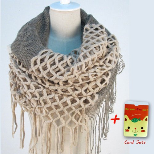 Fashion Women Winter Warm Knit Long Scarf Infinity Tassels Soft Shawl 7 Colors (Beige)