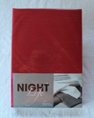 NightLife Jersey Spannbettlaken Farbe bordo rot Größe 180 x 190 bis 200 x 200 cm Spannbettuch Spannlaken mit Rundumgummi 100% Baumwolle