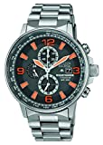 Citizen Watch Nighthawk Men's Quartz Watch with Grey Dial Chronograph Display and Silver Titanium Bracelet CA0500-51H