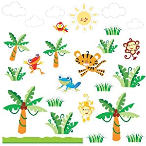 brewster home fashions st94517 fisher price rainforest kids wall stickers wall stickers animal rainforest