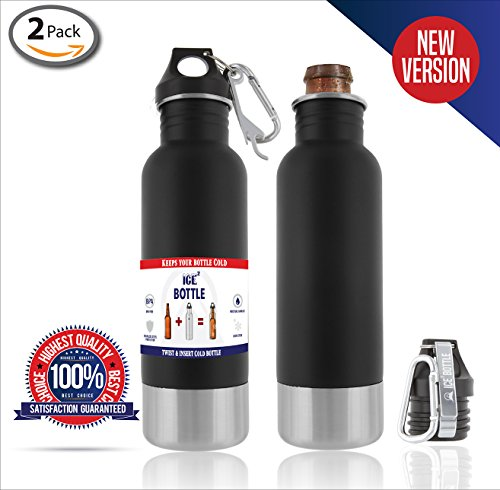 The Original Beer Cooler ● Ice2Bottle ● Cold Beer ● Beer Chiller ● Stainless Steel Bottle Insulator ● Beer Holder ● Fits 12oz Bottles ● Includes Bottle Opener & Keychain Carabiner (Matte Black 2 Pack) (Aluminum Wine Cooler compare prices)