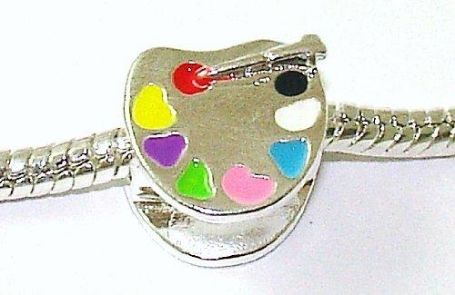 Artist's Paint Palette - Silver Plated Enamel Charm Bead - fits Pandora, Chamilia etc style Bracelets - SpangleBead