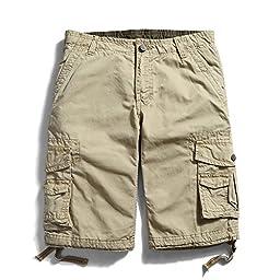 OCHENTA Men\'s Cotton Casual Multi Pockets Cargo Shorts #3231 khaki 33