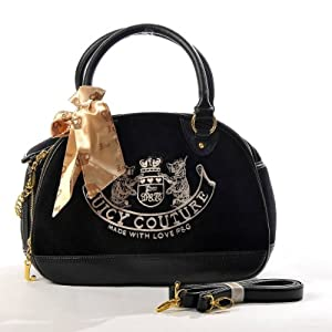 Juicy Couture Embroidery Travel Outdoor Dog Cat Pet Carrier Handbag Tote Purse Black