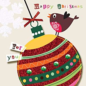 """ Happy Christmas "" Hand Finished Boxed Christmas Cards (5 Cards Per Box) - BSB203"
