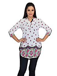 lol white Color Floral Print Casual Top for women
