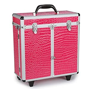 Top Performance Aluminum Faux Croc Grooming Tool Case on Wheels, Hot Pink