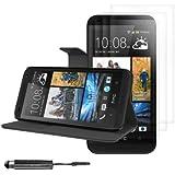 kwmobile® 5en1: Housse en cuir synthétique élégante pour HTC Desire 601 avec fermeture aimantée et fonction support en Noir + 3x Film, transparent + Stylet, Noir